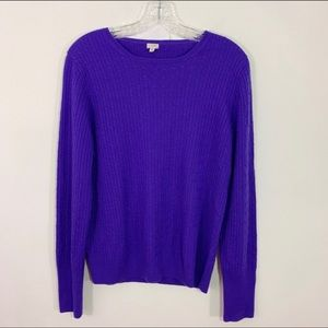 J. CREW | Purple Crew Neck Cable Knit Sweater XL